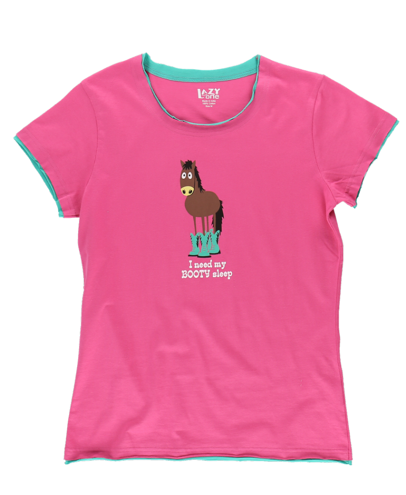 Booty Sleep -  Women's Fitted Horse PJ T-shirt - LazyOne®
